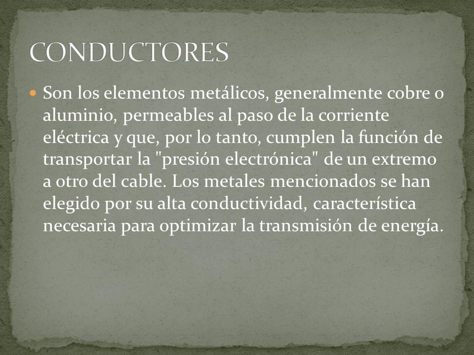 Son los elementos metálicos, generalmente cobre o aluminio, permeables al paso de la corriente eléctrica y que, por lo tanto, cumplen la función de tr
