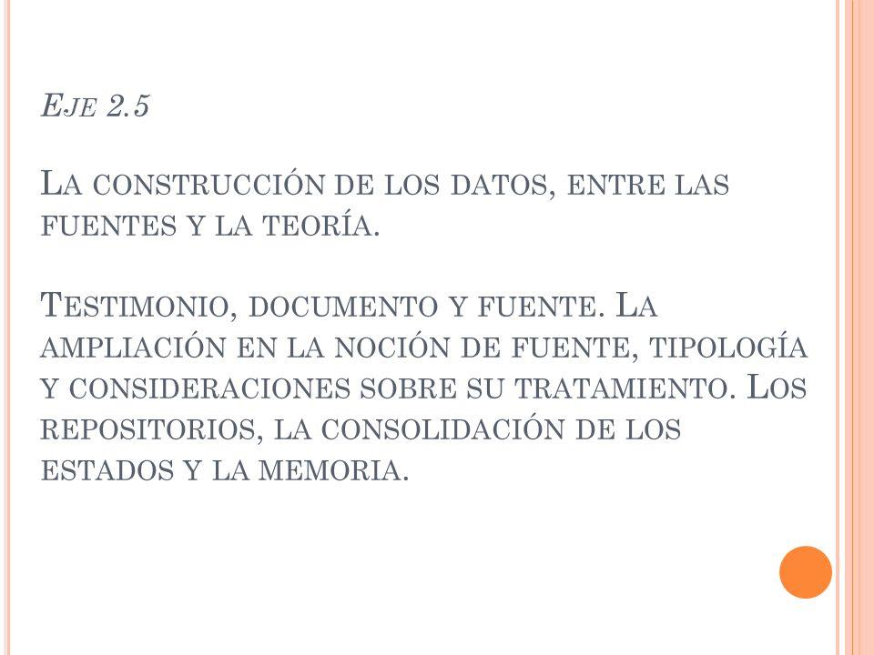 E JE 2.5 L A CONSTRUCCIÓN DE LOS DATOS, ENTRE LAS FUENTES Y LA TEORÍA.