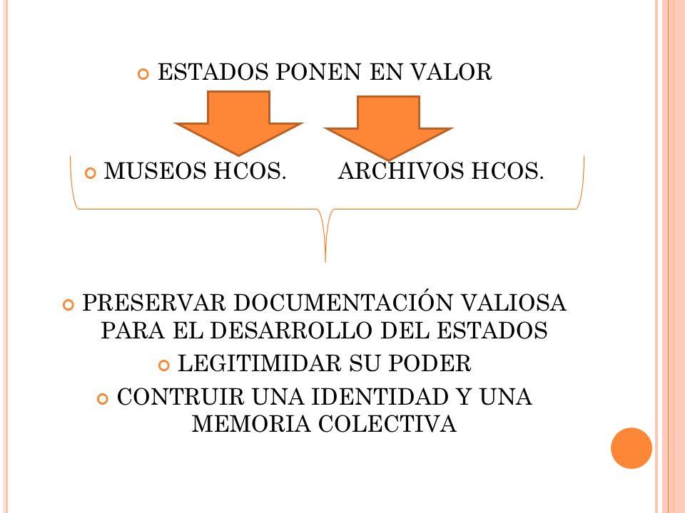 ESTADOS PONEN EN VALOR MUSEOS HCOS. ARCHIVOS HCOS.