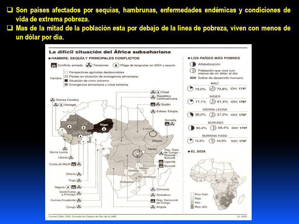 Son países afectados por sequías, hambrunas, enfermedades endémicas y condiciones de vida de extrema pobreza.