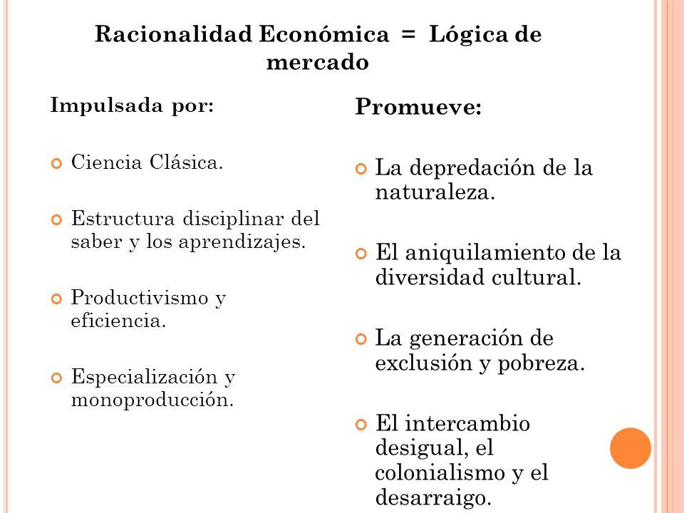 Racionalidad Económica = Lógica de mercado Impulsada por: Ciencia Clásica. Estructura disciplinar del saber y los aprendizajes. Productivismo y eficie