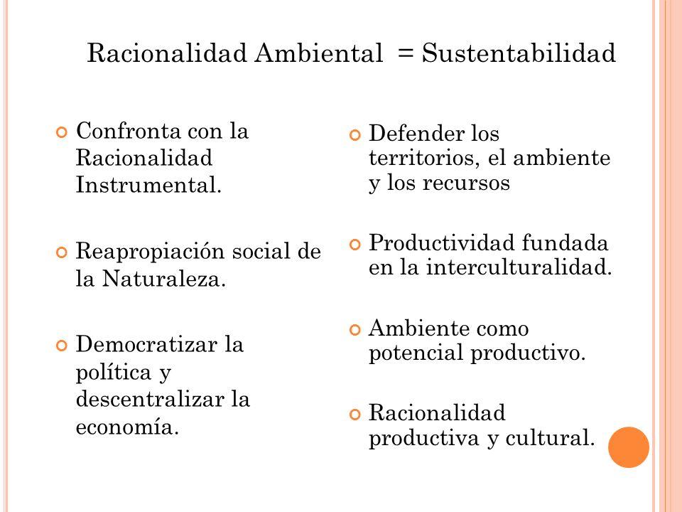 Racionalidad Ambiental = Sustentabilidad Confronta con la Racionalidad Instrumental. Reapropiación social de la Naturaleza. Democratizar la política y