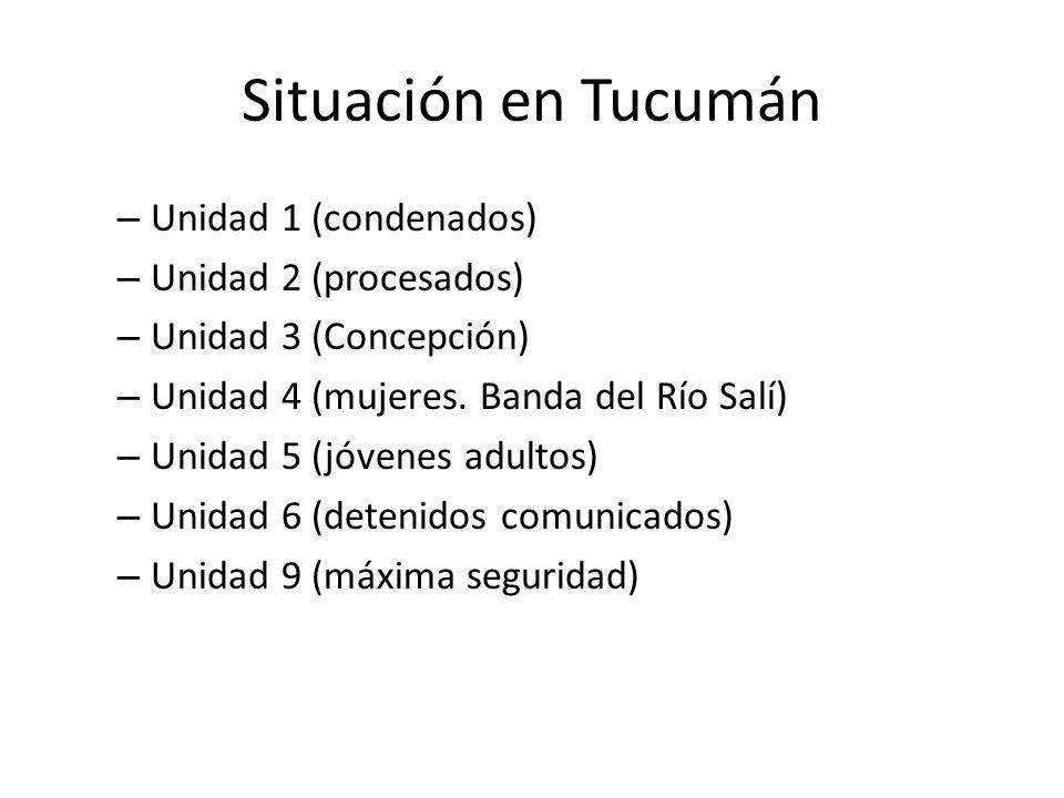 Situación en Tucumán – Unidad 1 (condenados) – Unidad 2 (procesados) – Unidad 3 (Concepción) – Unidad 4 (mujeres. Banda del Río Salí) – Unidad 5 (jóve