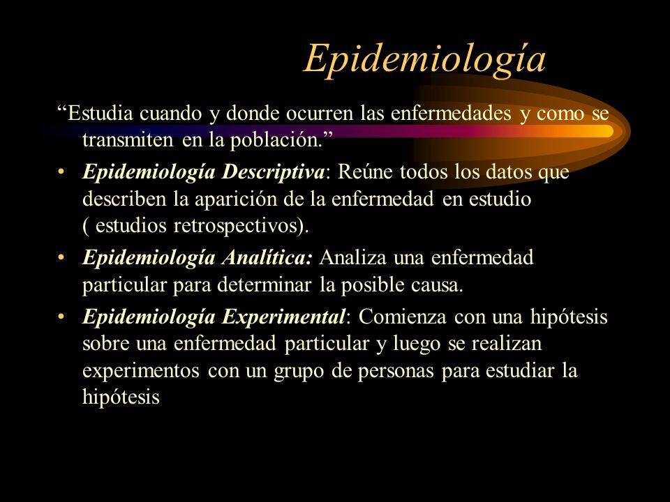 Epidemiología Estudia cuando y donde ocurren las enfermedades y como se transmiten en la población. Epidemiología Descriptiva: Reúne todos los datos q