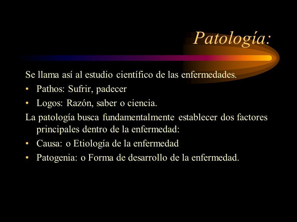 Patología: Se llama así al estudio científico de las enfermedades. Pathos: Sufrir, padecer Logos: Razón, saber o ciencia. La patología busca fundament