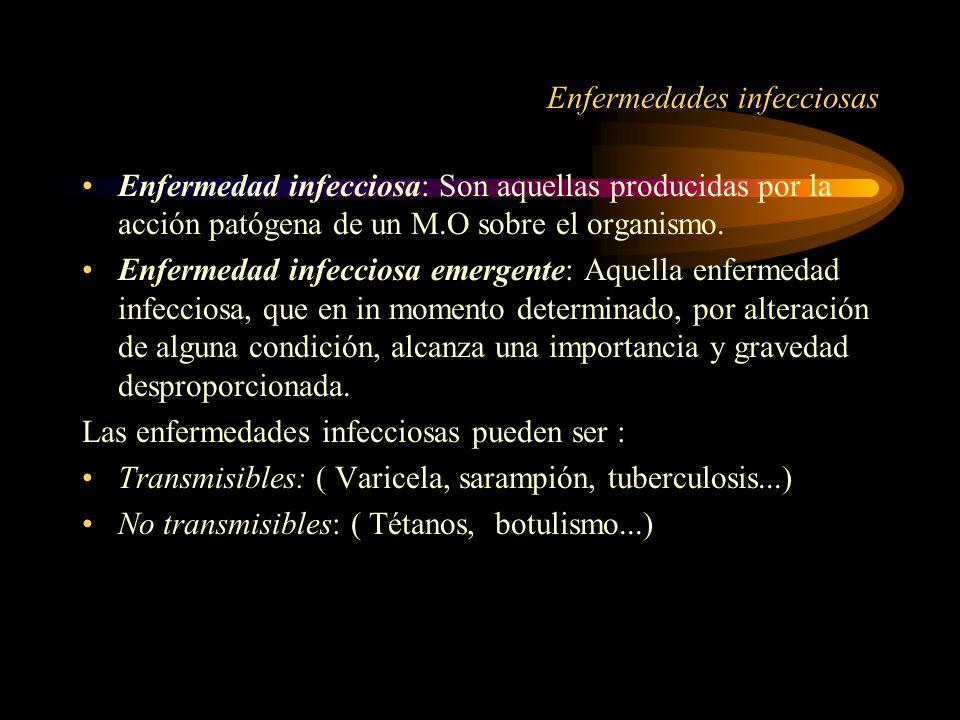 Enfermedades infecciosas Enfermedad infecciosa: Son aquellas producidas por la acción patógena de un M.O sobre el organismo. Enfermedad infecciosa eme