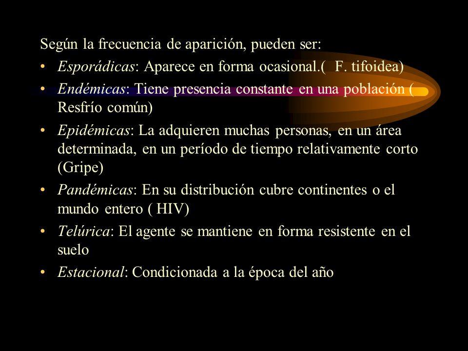 Según la frecuencia de aparición, pueden ser: Esporádicas: Aparece en forma ocasional.( F. tifoidea) Endémicas: Tiene presencia constante en una pobla