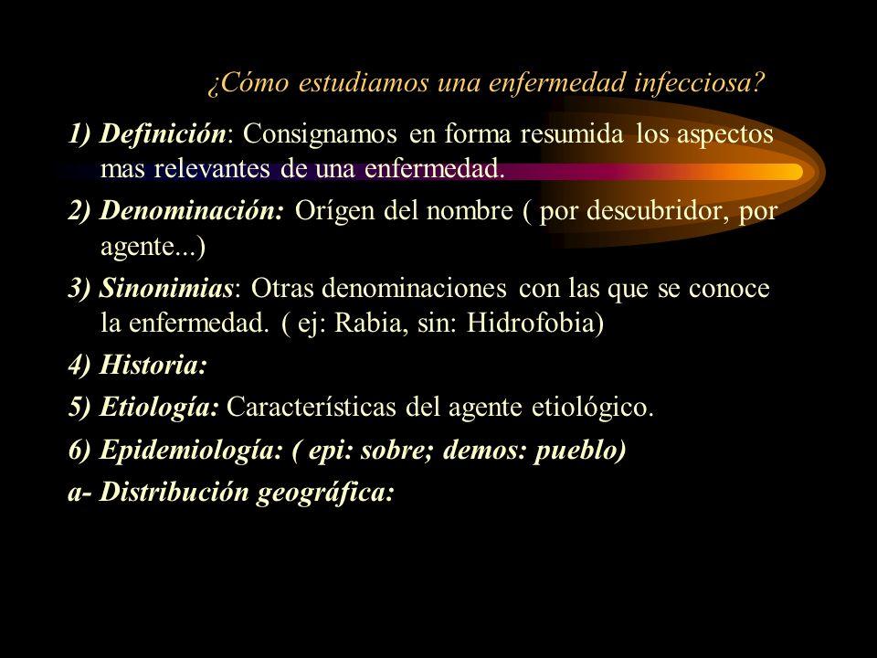 ¿Cómo estudiamos una enfermedad infecciosa? 1) Definición: Consignamos en forma resumida los aspectos mas relevantes de una enfermedad. 2) Denominació