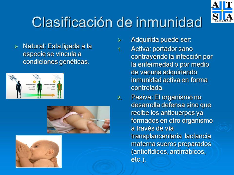 Clasificación de inmunidad Natural: Esta ligada a la especie se vincula a condiciones genéticas. Natural: Esta ligada a la especie se vincula a condic