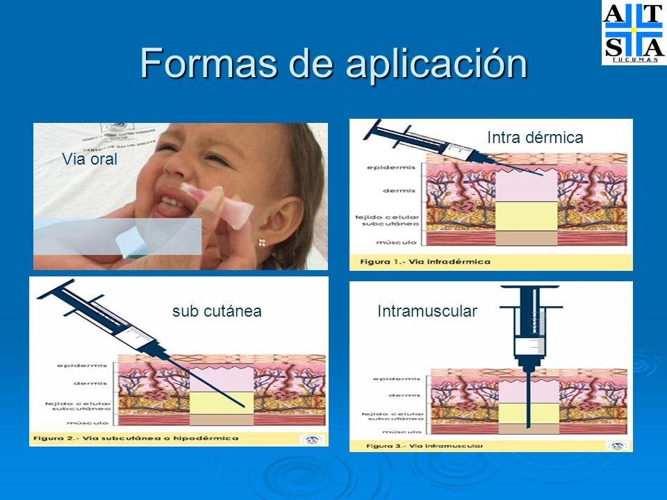 Formas de aplicación Via oral Intra dérmica sub cutáneaIntramuscular