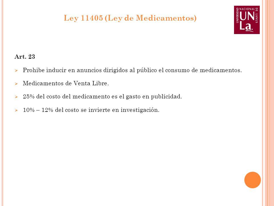 Art. 23 Prohibe inducir en anuncios dirigidos al público el consumo de medicamentos. Medicamentos de Venta Libre. 25% del costo del medicamento es el