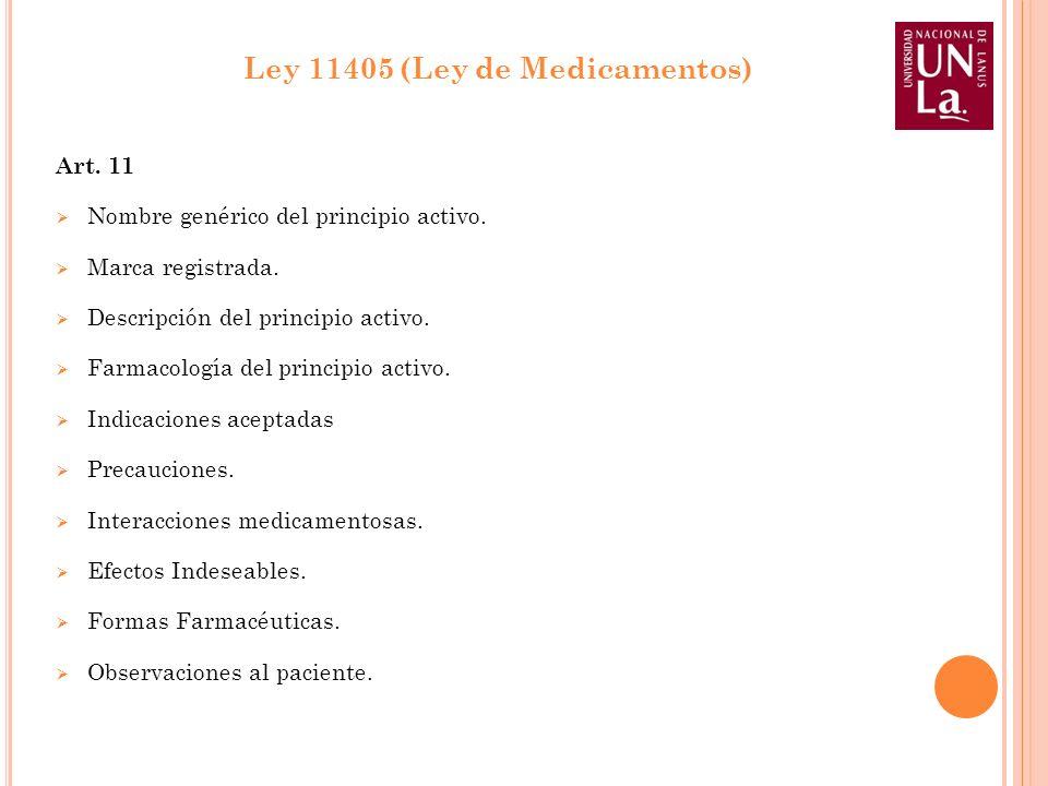 Art. 11 Nombre genérico del principio activo. Marca registrada. Descripción del principio activo. Farmacología del principio activo. Indicaciones acep