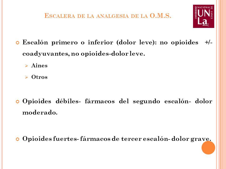 E SCALERA DE LA ANALGESIA DE LA O.M.S. Escalón primero o inferior (dolor leve): no opioides +/- coadyuvantes, no opioides-dolor leve. Aines Otros Opio