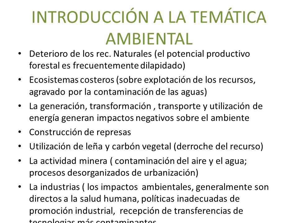 INTRODUCCIÓN A LA TEMÁTICA AMBIENTAL Deterioro de los rec. Naturales (el potencial productivo forestal es frecuentemente dilapidado) Ecosistemas coste