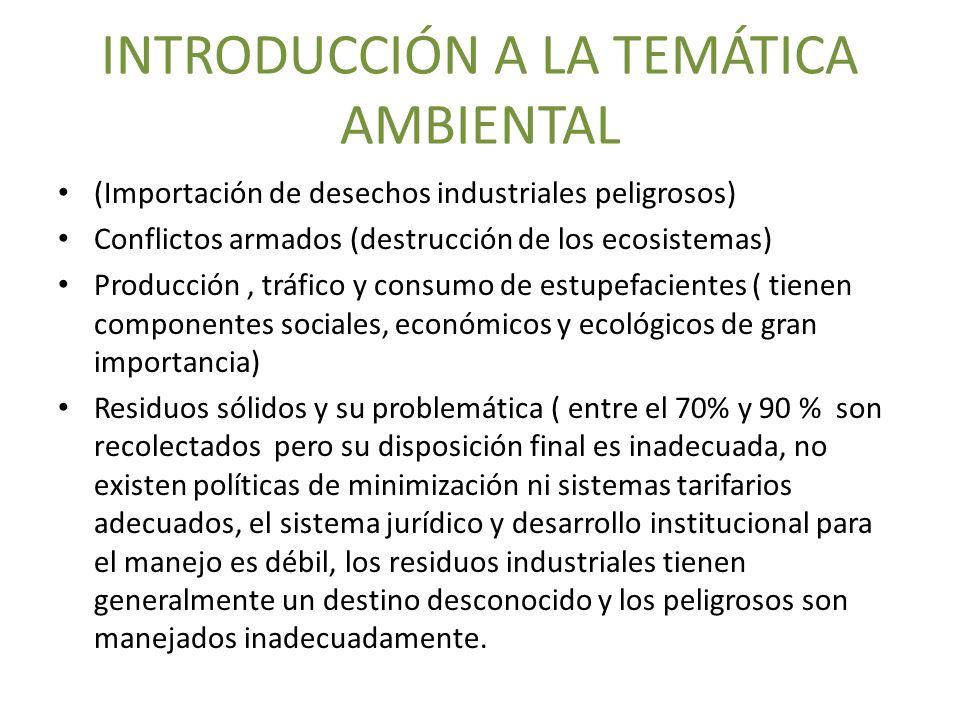 INTRODUCCIÓN A LA TEMÁTICA AMBIENTAL (Importación de desechos industriales peligrosos) Conflictos armados (destrucción de los ecosistemas) Producción,