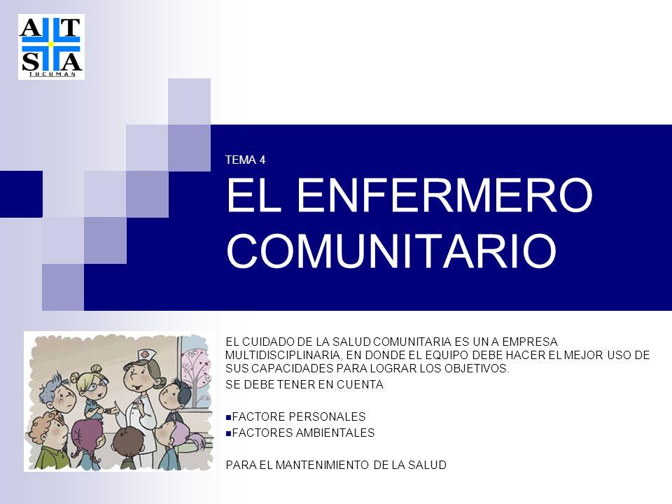 TEMA 4 EL ENFERMERO COMUNITARIO EL CUIDADO DE LA SALUD COMUNITARIA ES UN A EMPRESA MULTIDISCIPLINARIA, EN DONDE EL EQUIPO DEBE HACER EL MEJOR USO DE SUS CAPACIDADES PARA LOGRAR LOS OBJETIVOS.