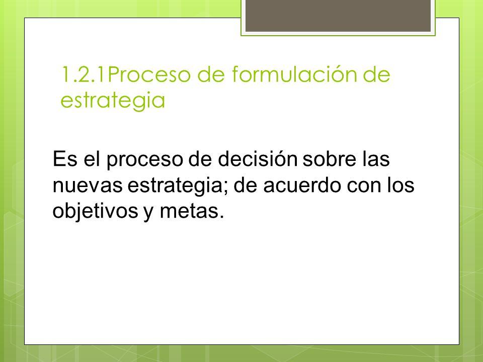1.2.1Proceso de formulación de estrategia Es el proceso de decisión sobre las nuevas estrategia; de acuerdo con los objetivos y metas.