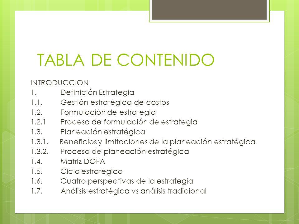 TABLA DE CONTENIDO INTRODUCCION 1.Definición Estrategia 1.1.Gestión estratégica de costos 1.2.Formulación de estrategia 1.2.1Proceso de formulación de