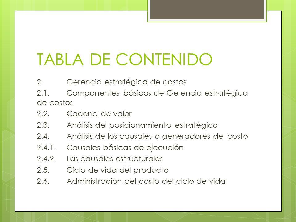 TABLA DE CONTENIDO 2.Gerencia estratégica de costos 2.1. Componentes básicos de Gerencia estratégica de costos 2.2.Cadena de valor 2.3.Análisis del po