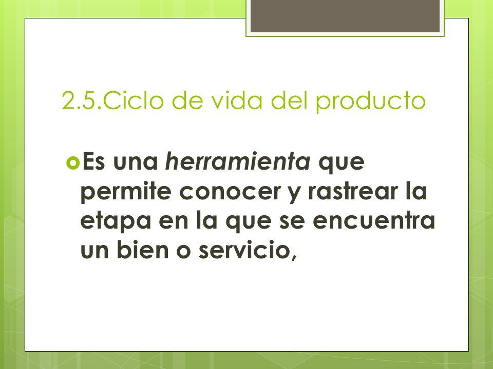 2.5.Ciclo de vida del producto Es una herramienta que permite conocer y rastrear la etapa en la que se encuentra un bien o servicio,