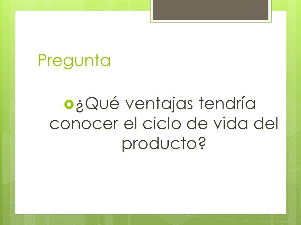 Pregunta ¿Qué ventajas tendría conocer el ciclo de vida del producto?