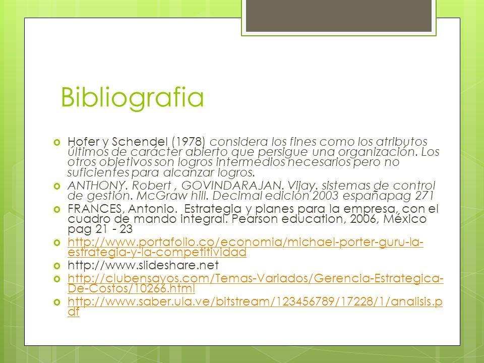 Bibliografia Hofer y Schendel (1978) considera los fines como los atributos últimos de carácter abierto que persigue una organización. Los otros objet