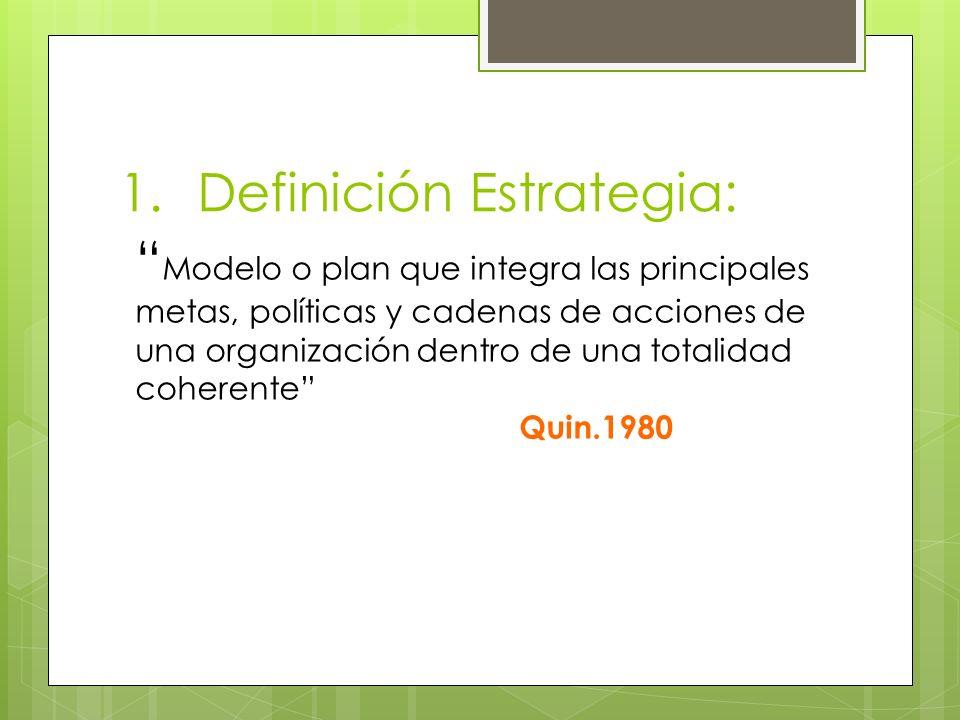 1.Definición Estrategia: Modelo o plan que integra las principales metas, políticas y cadenas de acciones de una organización dentro de una totalidad