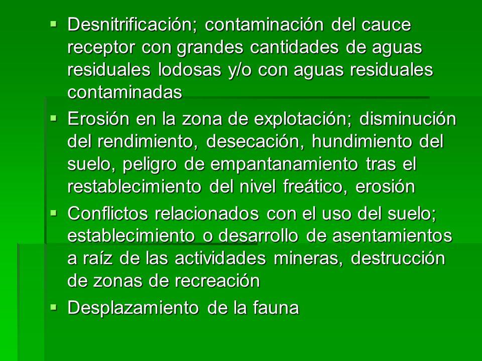 Desnitrificación; contaminación del cauce receptor con grandes cantidades de aguas residuales lodosas y/o con aguas residuales contaminadas Desnitrifi