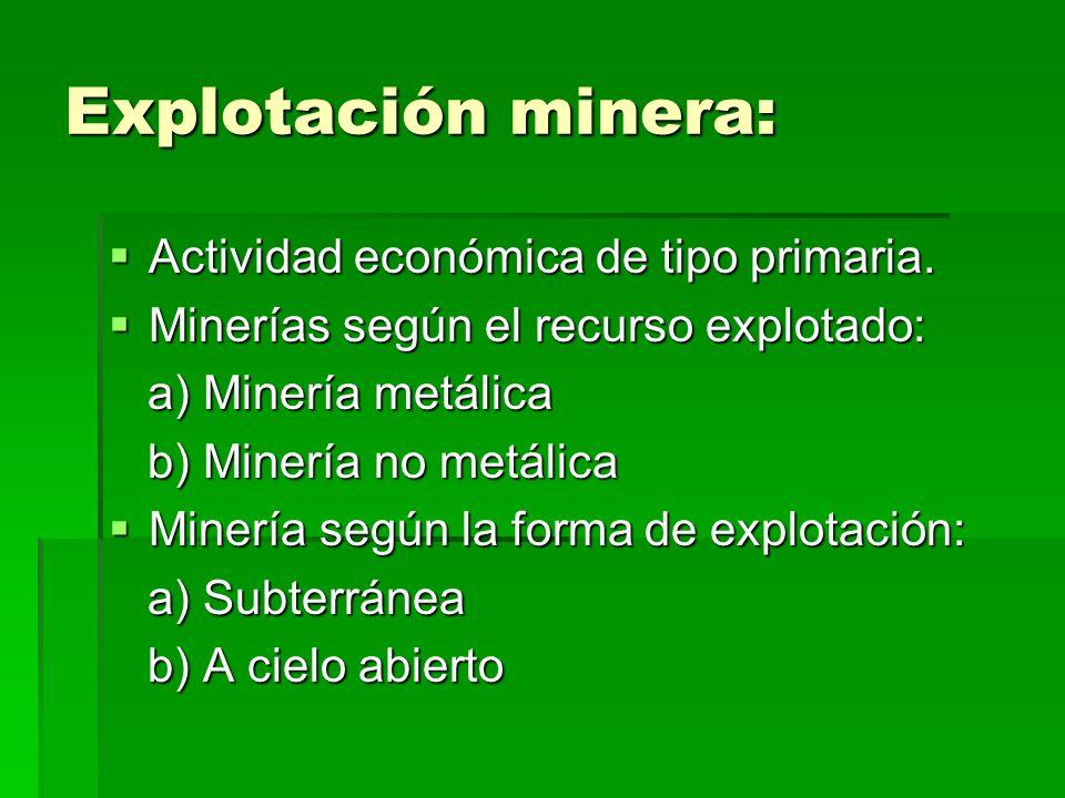 Explotación minera: Actividad económica de tipo primaria.