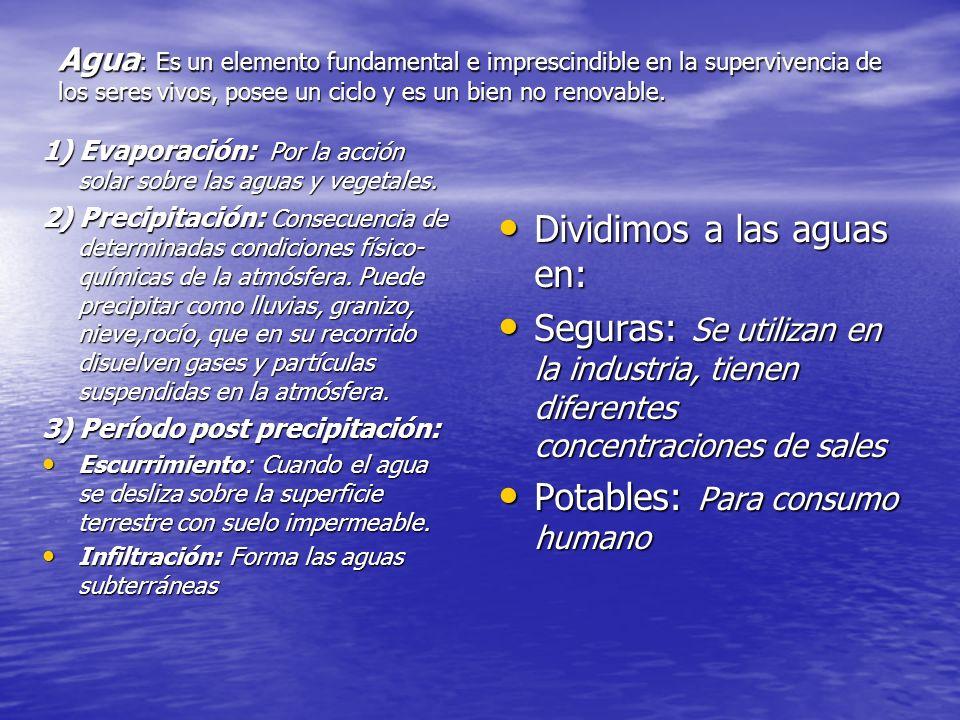 Agua : Es un elemento fundamental e imprescindible en la supervivencia de los seres vivos, posee un ciclo y es un bien no renovable. 1) Evaporación: P