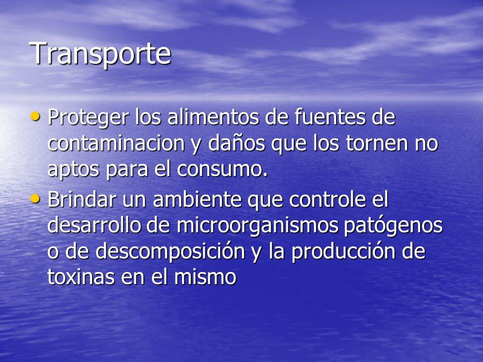 Transporte Proteger los alimentos de fuentes de contaminacion y daños que los tornen no aptos para el consumo. Proteger los alimentos de fuentes de co