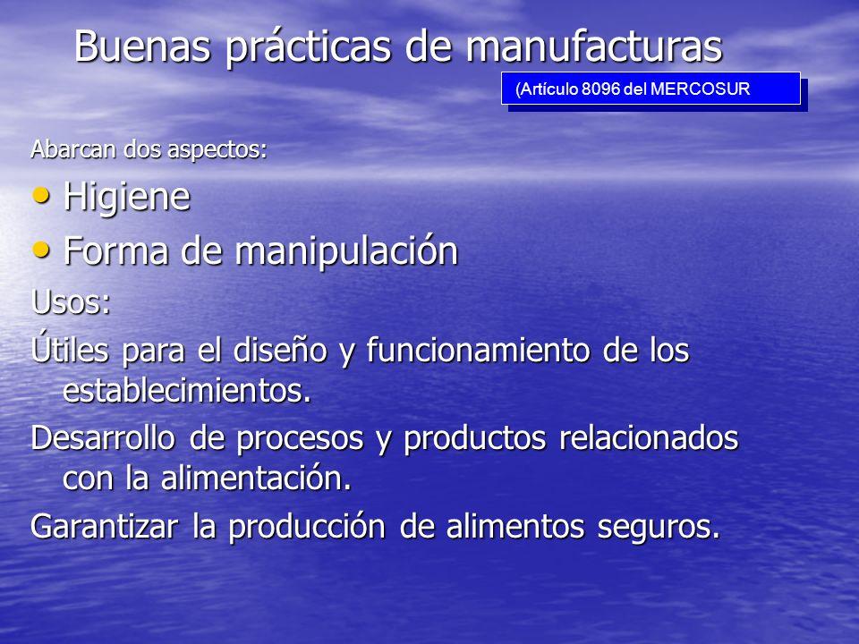 Buenas prácticas de manufacturas Abarcan dos aspectos: Higiene Higiene Forma de manipulación Forma de manipulaciónUsos: Útiles para el diseño y funcio