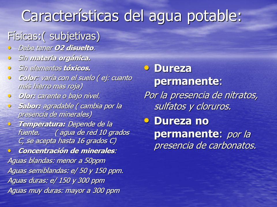 Características del agua potable: Físicas:( subjetivas) Debe tener O2 disuelto. Debe tener O2 disuelto. Sin materia orgánica. Sin materia orgánica. Si