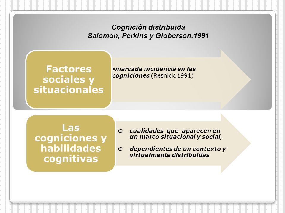 marcada incidencia en las cogniciones (Resnick,1991) Factores sociales y situacionales cualidades que aparecen en un marco situacional y social, depen