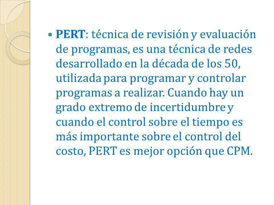 PERT: técnica de revisión y evaluación de programas, es una técnica de redes desarrollado en la década de los 50, utilizada para programar y controlar