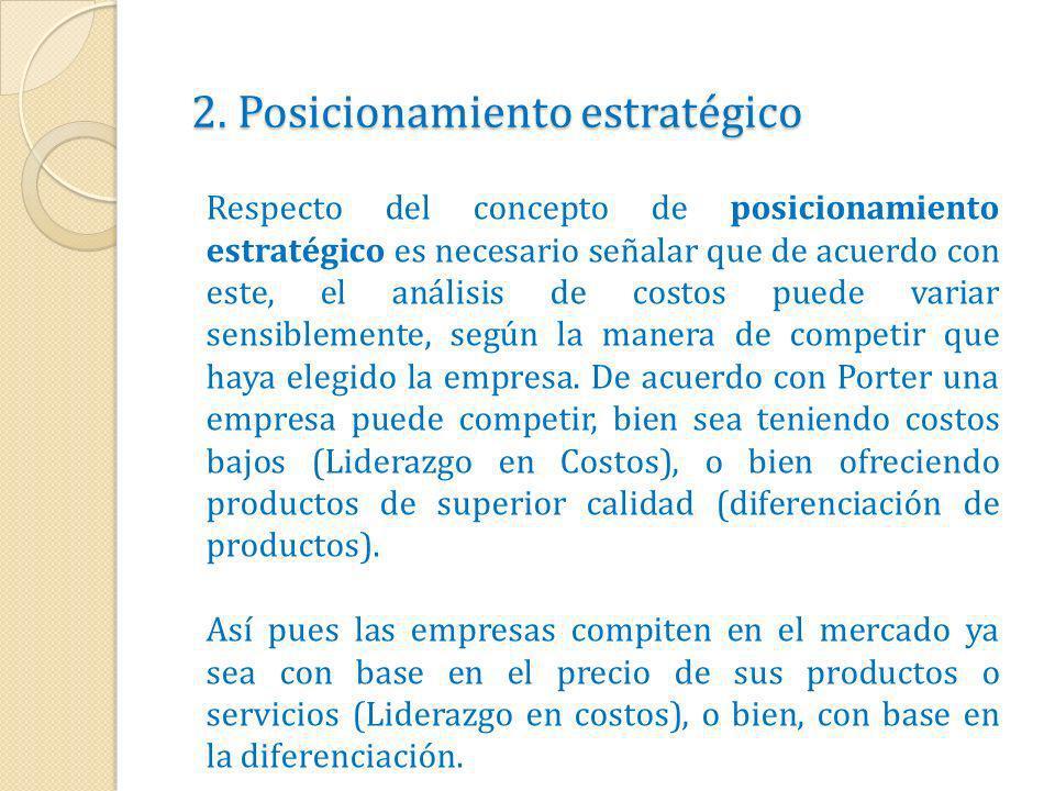 2. Posicionamiento estratégico Respecto del concepto de posicionamiento estratégico es necesario señalar que de acuerdo con este, el análisis de costo