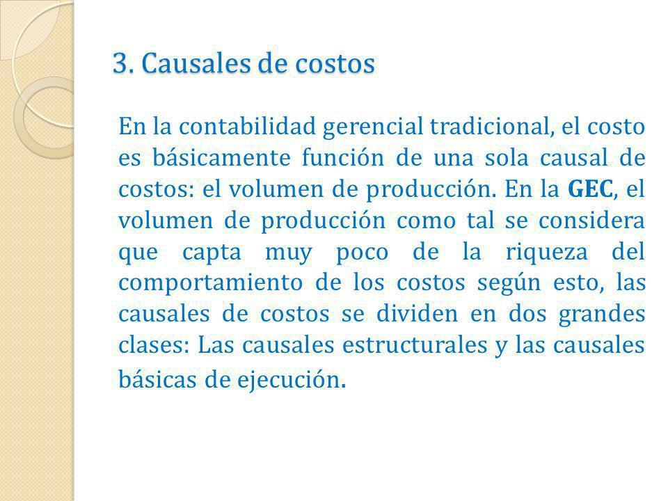 3. Causales de costos En la contabilidad gerencial tradicional, el costo es básicamente función de una sola causal de costos: el volumen de producción