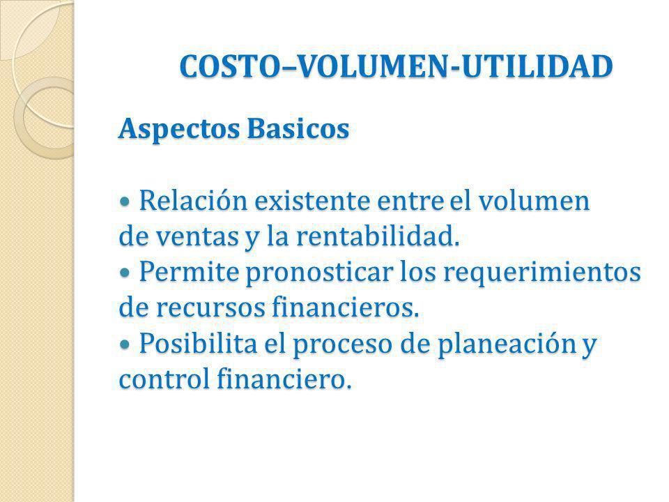 COSTO–VOLUMEN-UTILIDAD Aspectos Basicos Relación existente entre el volumen Relación existente entre el volumen de ventas y la rentabilidad. Permite p