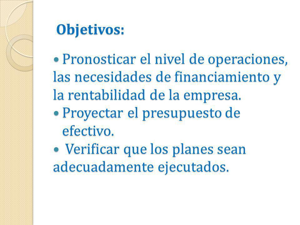 Objetivos: Pronosticar el nivel de operaciones, Pronosticar el nivel de operaciones, las necesidades de financiamiento y la rentabilidad de la empresa