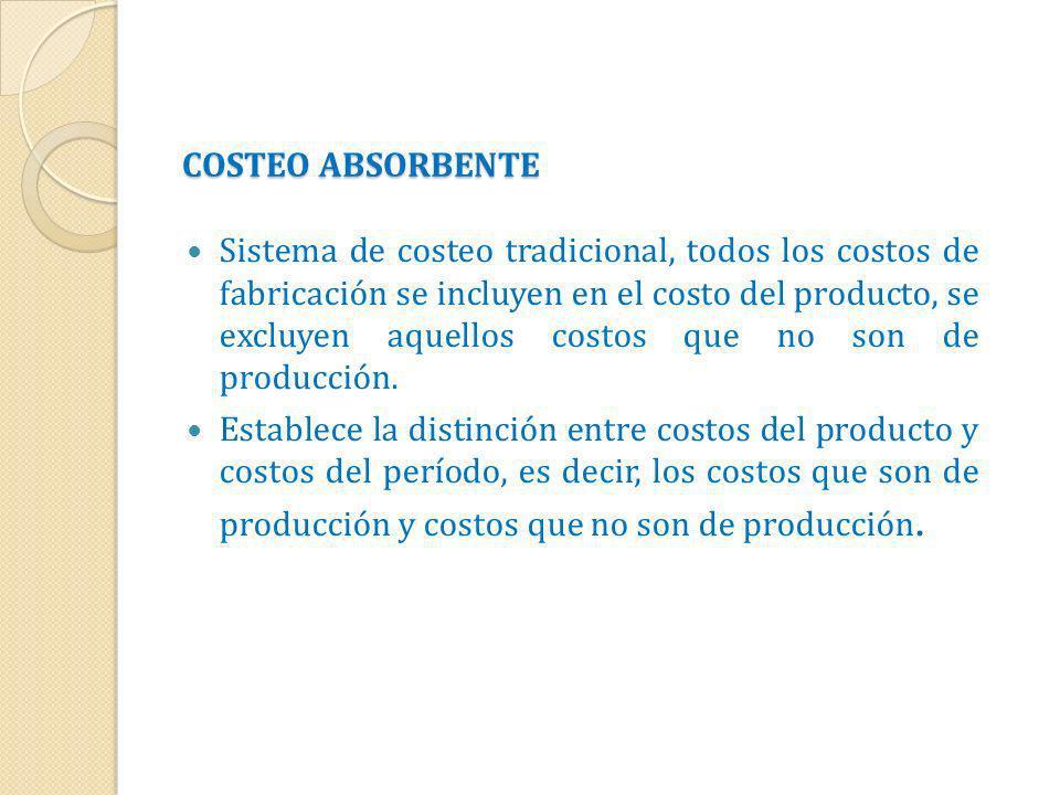 COSTEO ABSORBENTE Sistema de costeo tradicional, todos los costos de fabricación se incluyen en el costo del producto, se excluyen aquellos costos que