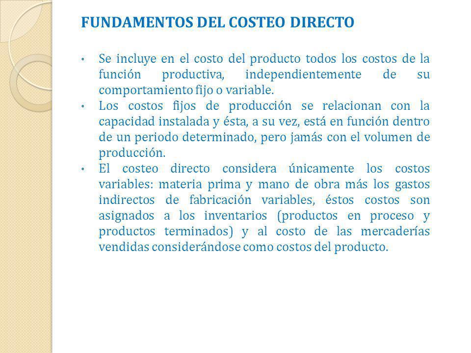 FUNDAMENTOS DEL COSTEO DIRECTO Se incluye en el costo del producto todos los costos de la función productiva, independientemente de su comportamiento