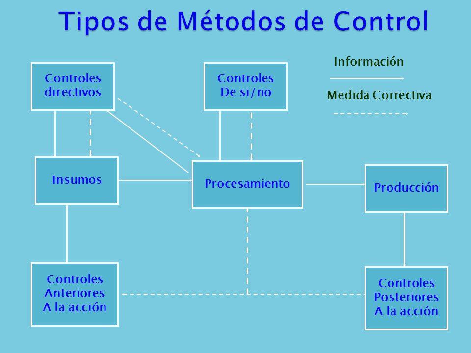 Controles directivos Controles De si/no Insumos Procesamiento Producción Controles Anteriores A la acción Controles Posteriores A la acción Informació