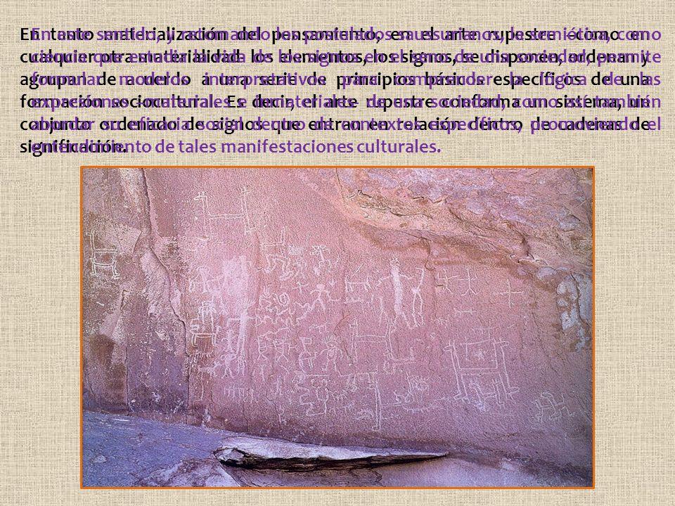 En tanto materialización del pensamiento, en el arte rupestre –como en cualquier otra materialidad- los elementos, los signos, se disponen, ordenan y agrupan de acuerdo a una serie de principios básicos específicos de una formación sociocultural.