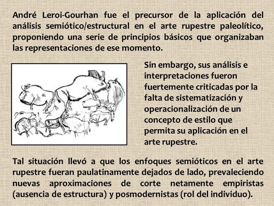 André Leroi-Gourhan fue el precursor de la aplicación del análisis semiótico/estructural en el arte rupestre paleolítico, proponiendo una serie de pri
