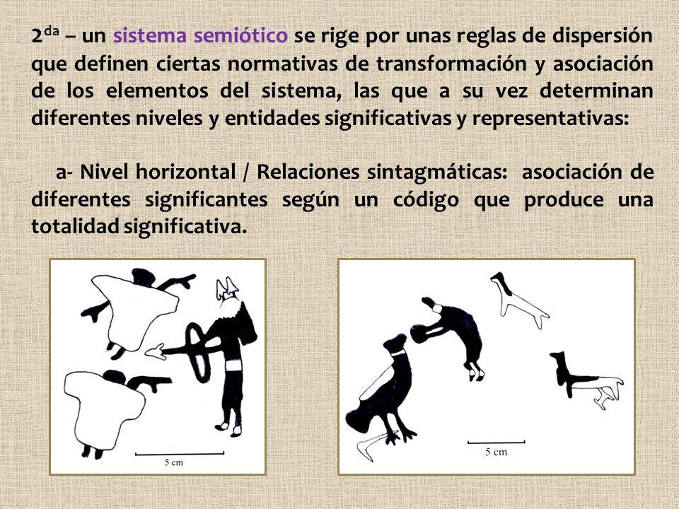 2 da – un sistema semiótico se rige por unas reglas de dispersión que definen ciertas normativas de transformación y asociación de los elementos del s