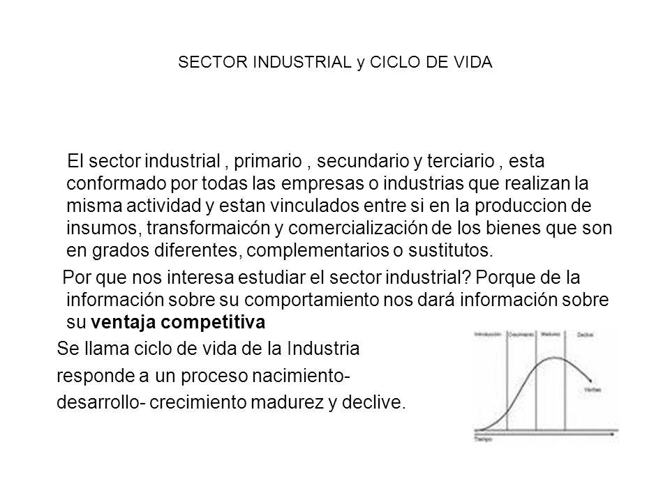 SECTOR INDUSTRIAL y CICLO DE VIDA El sector industrial, primario, secundario y terciario, esta conformado por todas las empresas o industrias que real