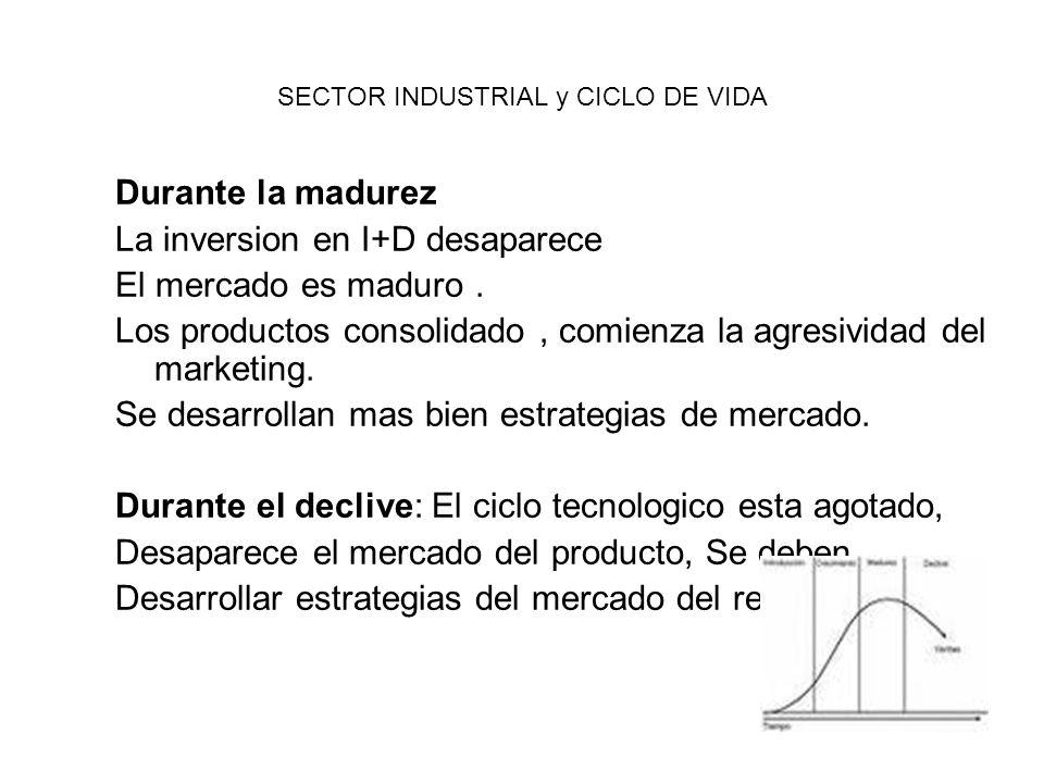 SECTOR INDUSTRIAL y CICLO DE VIDA Durante la madurez La inversion en I+D desaparece El mercado es maduro. Los productos consolidado, comienza la agres