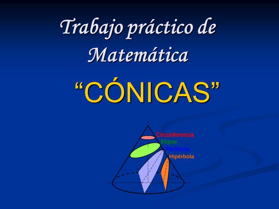 Trabajo práctico de Matemática CÓNICAS