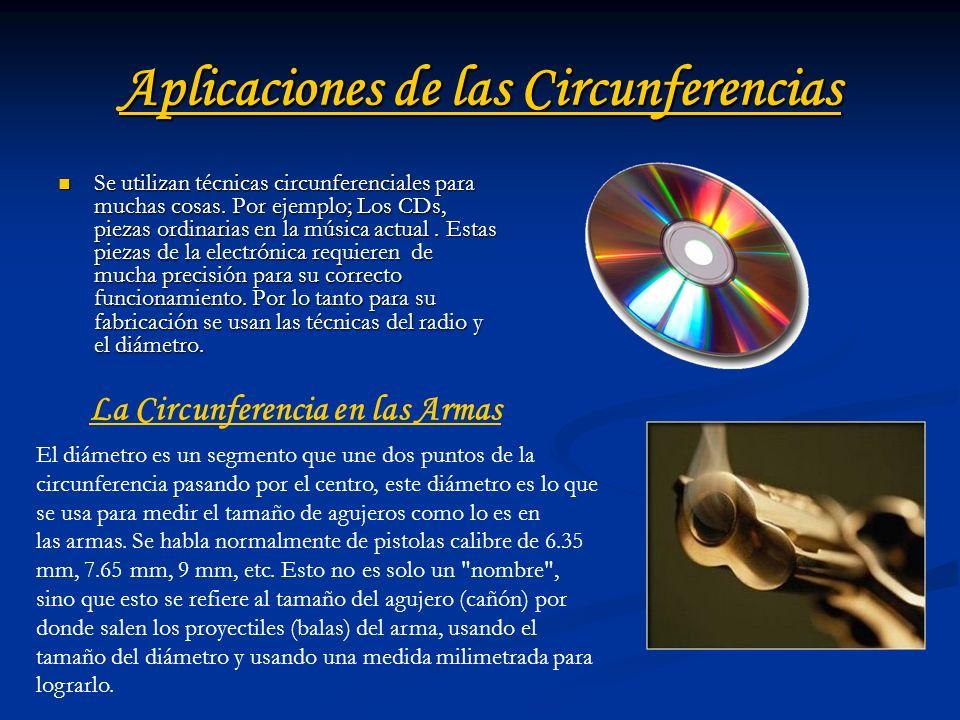 Aplicaciones de las Circunferencias Se utilizan técnicas circunferenciales para muchas cosas. Por ejemplo; Los CDs, piezas ordinarias en la música act