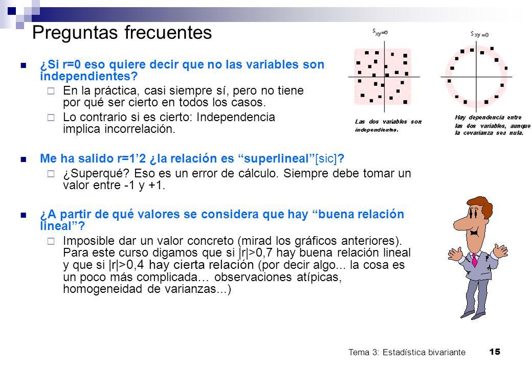 Tema 3: Estadística bivariante 15 Preguntas frecuentes ¿Si r=0 eso quiere decir que no las variables son independientes? En la práctica, casi siempre